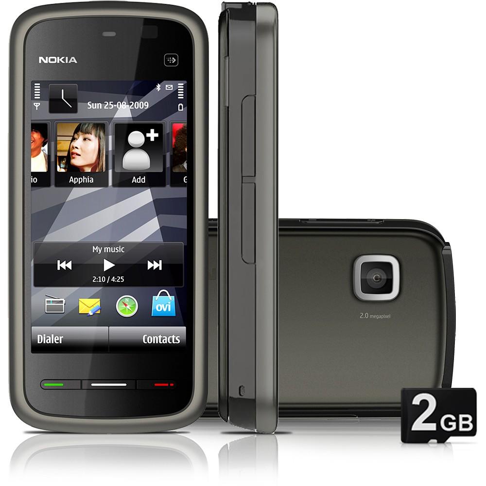 """SMARTPHONE 5233 PRETO - DESBLOQUEADO - GSM COM SISTEMA OPERACIONAL SYMBIAN OS 9.4, TOUCH SCREEN COM TELA DE 3.2"""", CÂMERA 2.0MP COM ZOOM 3X, FILMADORA, MP3 PLAYER, RÁDIO FM, BLUETOOTH ESTÉREO 2.0, FONE DE OUVIDO E CARTÃO DE 2GB - NOKIA"""
